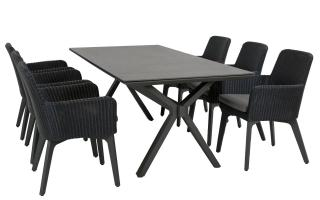 This attractive rectangular dining set has crossed legs at each end & an HPL table top in dark grey with woven dining chairs in polyloom anthracite, all with aluminium legs in anthracite.