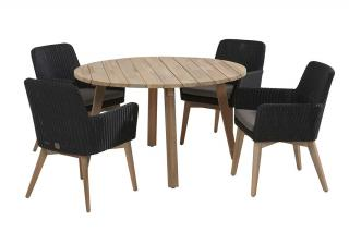 Lisboa 4 Seat Derby Dining Set in Polyloom Anthracite with Teak Legs