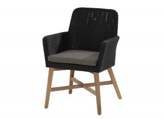 4 Seasons Outdoor Lisboa Dining Chair in Polyloom Anthracite with Teak legs