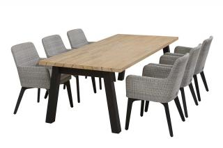 Lisboa 6 Seat Derby Dining Set in Polyloom Ice with Aluminium Legs