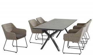 This attractive rectangular dining set has crossed legs at each end & an HPL table top in dark grey with woven dining chairs in polyloom pebble, all with metal legs in anthracite.