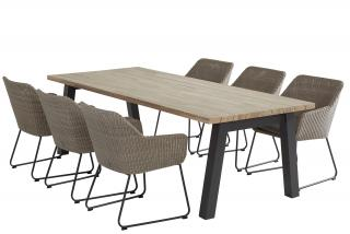 4 Seasons Outdoor Avila 6 Seat Rectangular Derby Dining Set in Polyloom Pebble