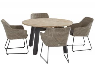 This attractive round dining set is ideal for a small patio & is easy to maintain.