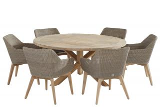 A stunning round teak dining set for six with an interesting cross table base with teak & Hularo weave chairs in Polyloom Pebble.