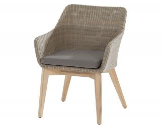 4 Seasons Outdoor Avila Dining Chair in Polyloom Pebble - Teak Legs