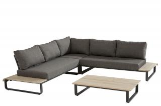 This modular aluminium & teak set has in-built teak tables on each end & comes with anthracite all weather cushions.