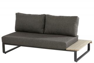 This modular aluminium & teak sofa has an in-built teak table on one end & comes with anthracite all weather cushions.