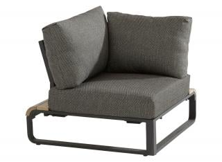 This single corner modular chair has an aluminium frame with teak detailing & comes with anthracite all weather cushions.