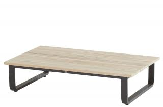 A rectangular teak top coffee table with an aluminium base designed to complement the Delta range.