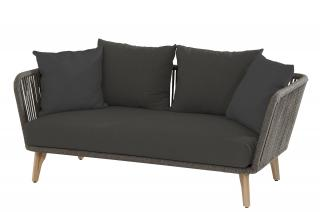 This deep cushioned sofa has an aluminium frame with an mid grey rope braiding.