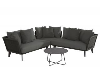 This modular aluminium set has attractive crossed rope seating with deep all weather olefin cushions.
