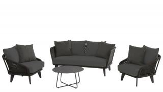 This deep cushioned lounge set has an aluminium frame with an anthracite finish & anthracite crossed rope braiding.