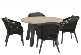 This mixed media dining set has a smooth teak table top & powder coated aluminium frames with woven rope chairs & is ideal for a small patio.