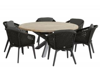 4 Seasons Outdoor Belize 6 Seat Louvre Dining Set