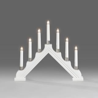 This white lacquered, arch shaped candelabra has 7 warm white bulbs & would look great on a windowsill.