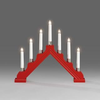 Red Wooden Candlestick with 7 Lights