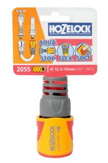 Hozelock Garden Hose Connector - Waterstop 12.5mm & 15mm 2055. The Aqua Stop connector has an internal valve that stops the water flow when an accessory is disconnected.