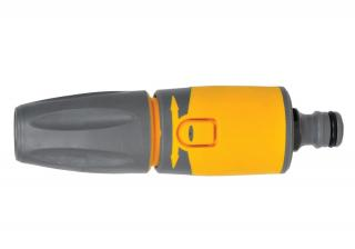 An adjustable spray nozzle with 3 spray patterns & fitted with male connector.