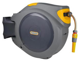 Hozelock Autoreel with 40m Garden Hose is an easy to use auto rewind hose reel for small to medium sized gardens.
