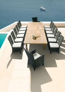 The Apex 390cm Extending Dining Set for Fourteen provides a contemporary and fresh look to a teak dining set.