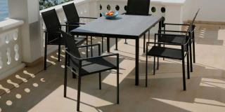 Barlow Tyrie Code 2EQ15. The Equinox 150cm Dining Table is available in a choice of five table tops.