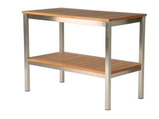 Barlow Tyrie Equinox Serving Table with Teak Top and Shelf
