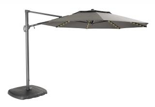 This taupe cantilever parasol comes with integral solar powered LED lights.