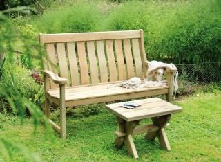 Alexander Rose Pine High Back Bench 5ft