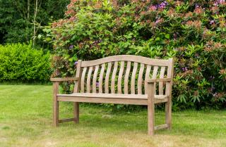 Alexander Rose Code 322S. An attractive chestnut painted solid wood bench for the garden or patio.