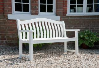 Alexander Rose Code 322W. An attractive white painted solid wood bench for the garden or patio.