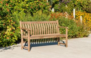 Alexander Rose Code 335S. An eye-catching 5ft bench with a painted chestnut finish.