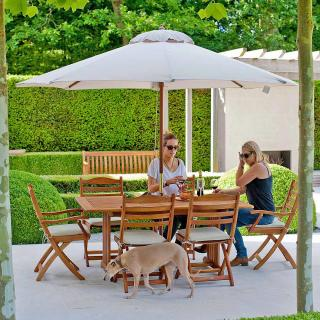 This 6 seat rectangular set has folding chairs which are easy to store & a fixed leg, garden table.