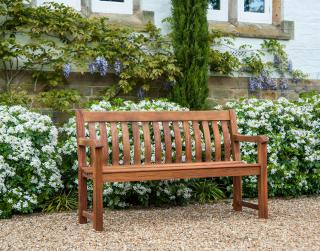 Alexander Rose Code 345B. A bench ideal for the corner of the garden or patio.