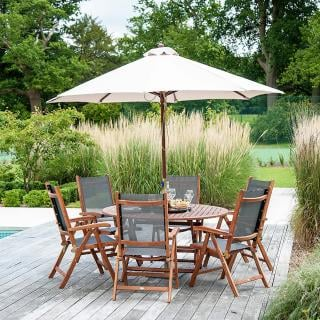 This 6 seat set is easy to maintain & store with its folding garden table & sling recliner chairs.