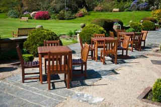 A chunky dining set which would be ideal for a small patio or garden.
