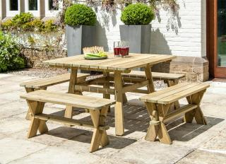 This square set features 4 backless benches with a 1.1m Pine table.