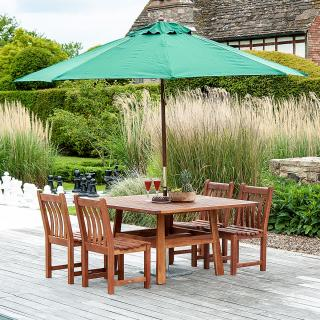 This four seat square set can easily be expanded to seat six with the addition of two chairs.