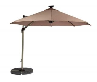 It has a crank and tilt mechanism and comes in 3 colours with integral LED lights in the canopy.