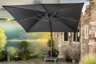 4 Seasons Outdoor 3m Square Horizon Cantilever Parasol & 84kg Base in Anthracite