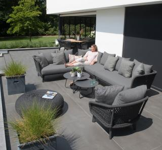 This modular aluminium set oozes comfort with attractive crossed rope seating & deep all weather olefin cushions.