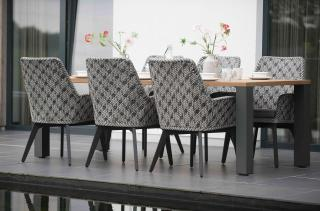 An attractive rectangular dining set with a teak top table & woven dining chairs, all with aluminium legs in anthracite.