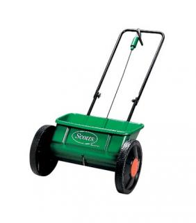 Scotts Evengreen Drop Spreader. Variable settings to apply lawn fertiliser or grass seed. Best choice for even results.