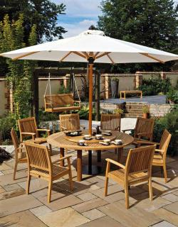 Barlow Tyrie Napoli 4m Round Parasol with 6cm Telescopic Pole