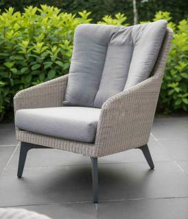 4 Seasons Outdoor Luxor Living Chair in Polyloom Pebble
