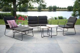 This minimalist four seat set has a stainless steel frame with an anthracite finish & taupe rope detailing.