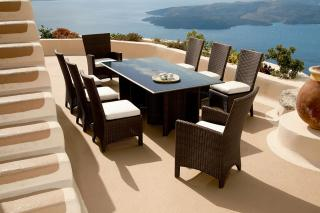 The colonial style Savannah 200cm Dining Set for Eight will give an air of glamour to any garden or terrace.