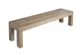 Alexander Rose Code 611. A rectangular hardwood backless bench with a painted natural aged look.
