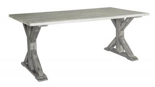 Alexander Rose Code 615. A rectangular grey painted 1.6m hardwood garden table with plenty of character.