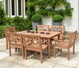A rectangular hardwood dining set which is designed for the Heritage range & seats six.