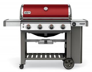 A brightly coloured limited edition crimson 4 burner BBQ combining the new GS4 grilling system with the versatility of a Gourmet BBQ system grate.